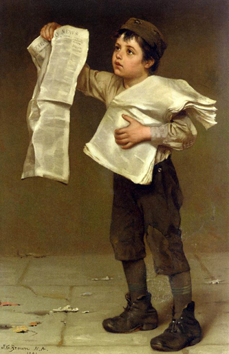 John George Brown, Newsboy, painted 1884